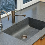 Corian® Midnight, solid surface with kitchen sink