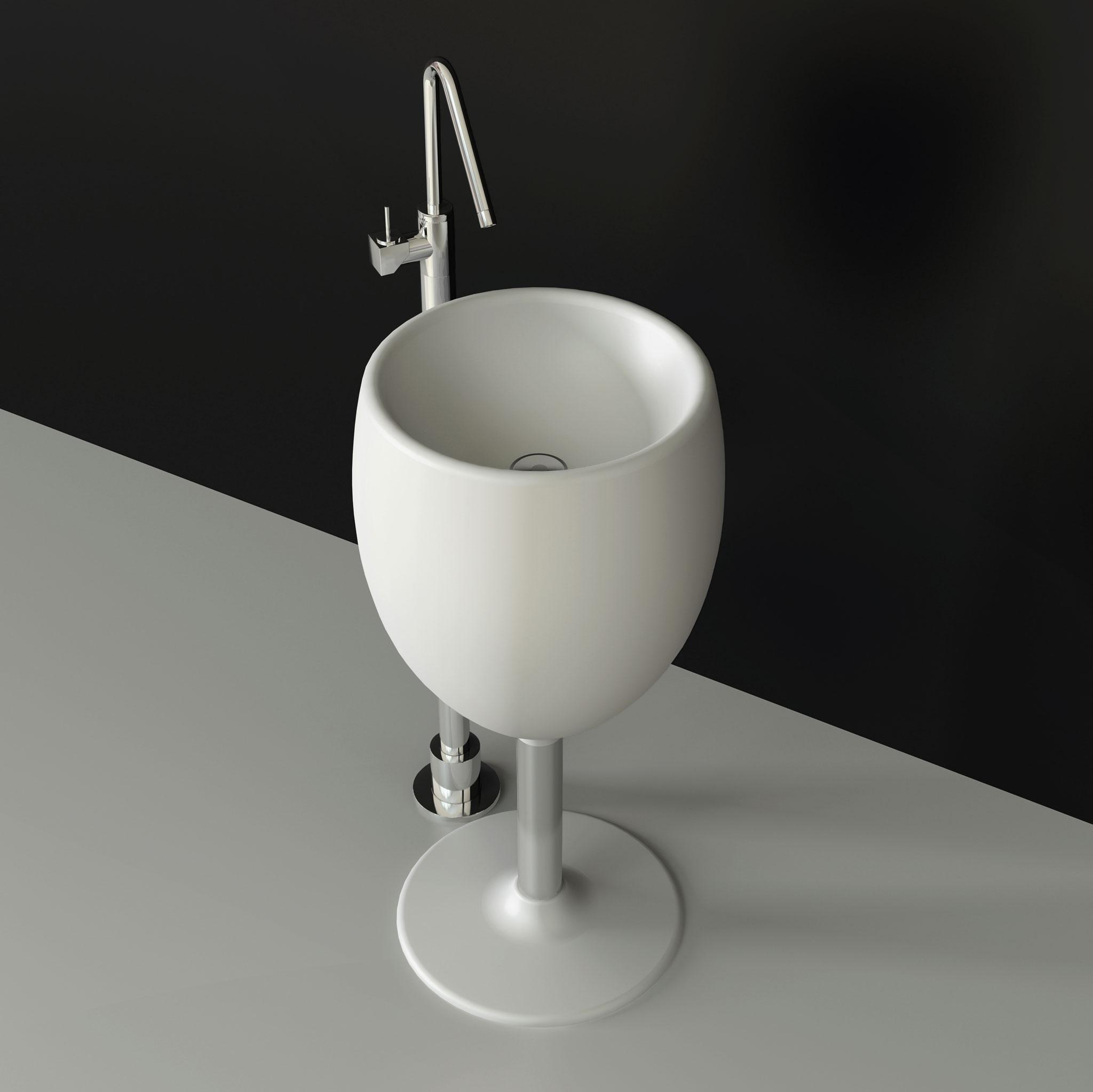 Glāzes formas dizaina izlietne.