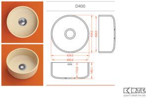 Apaļa virtuves izlietne D400