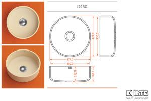 Apaļa virtuves izlietne D450