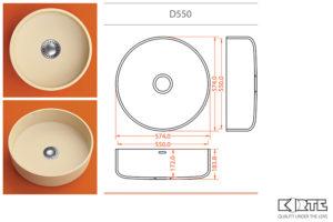 Apaļa virtuves izlietne D550