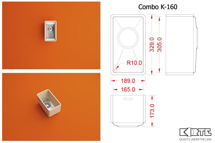 Virtuves izlietne COMBO K-160 D350