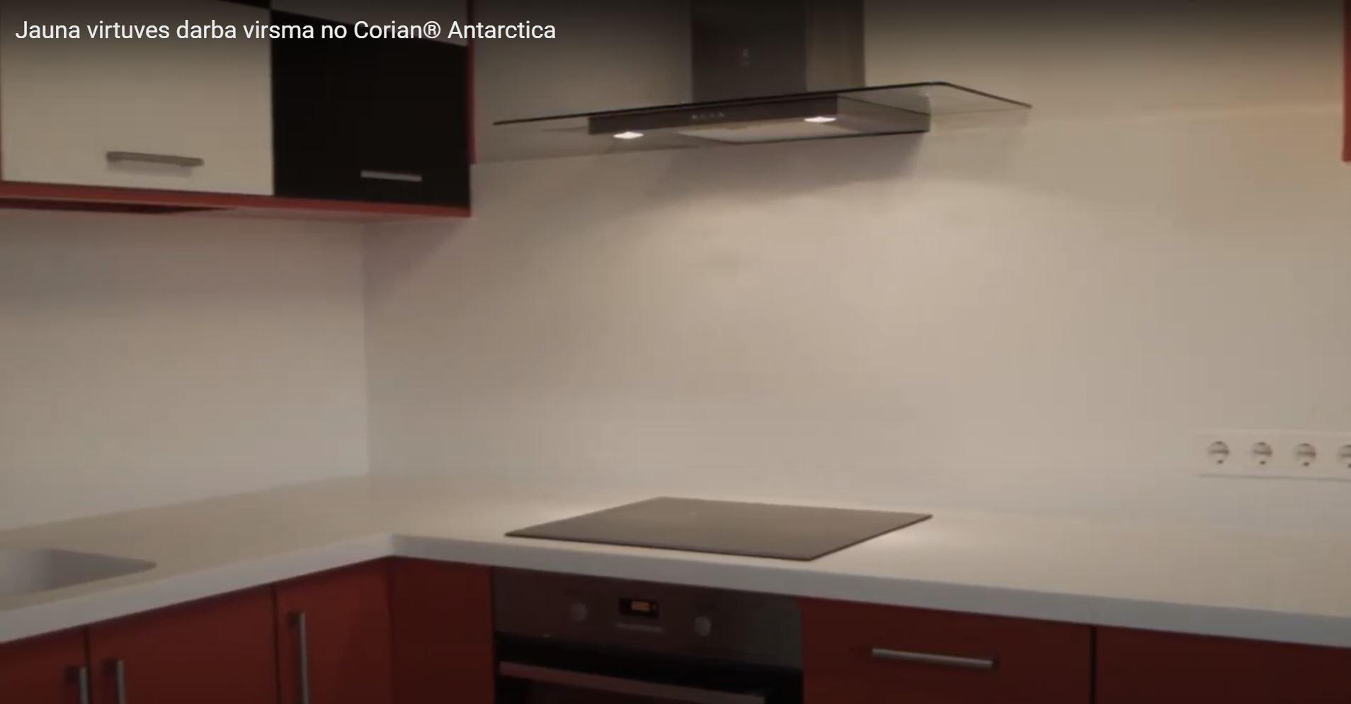 Virtuves darba virsmas nomaiņa. Lamīnāta virsma aizstāta ar mākslīgā akmens virsmu.